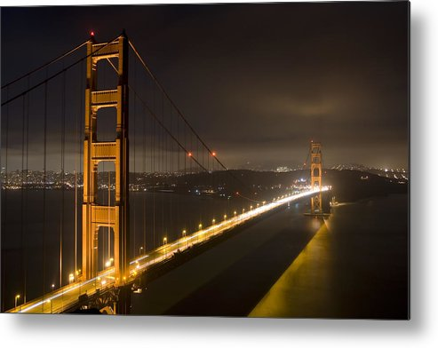 golden Gate Bridge Metal Print featuring the photograph Golden Gate At Night by Mike Irwin