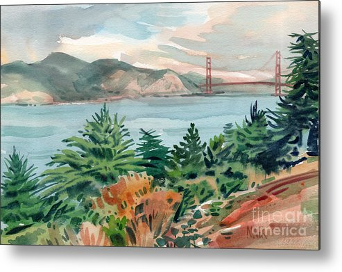 Golden Gate Bridge Metal Print featuring the painting Golden Gate by Donald Maier