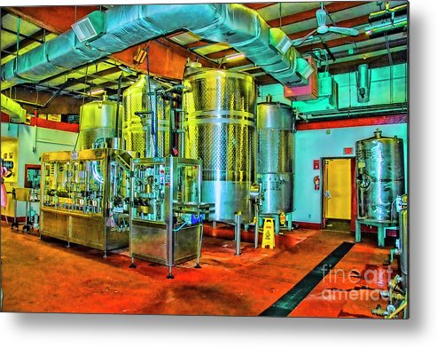 Wineries Newport Mass Metal Print featuring the photograph Golden Tanks by Rick Bragan