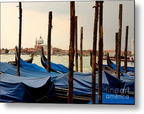Venice Metal Print featuring the photograph Gondolas And Poles In Venice by Michael Henderson