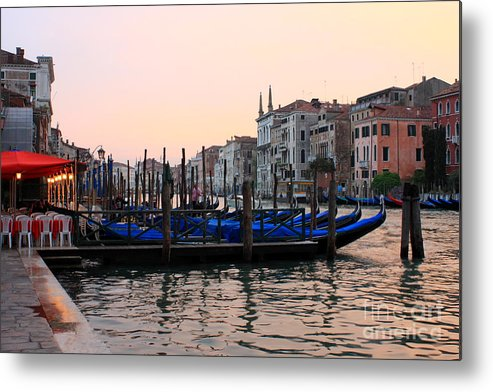 Venice Metal Print featuring the photograph Gondolas On The Grand Canal In Venice In The Morning by Michael Henderson