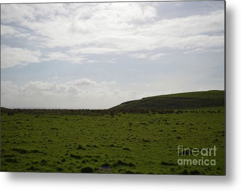 Hills Metal Print featuring the photograph Gorgeous Grass Field With Clouds In Ireland by DejaVu Designs