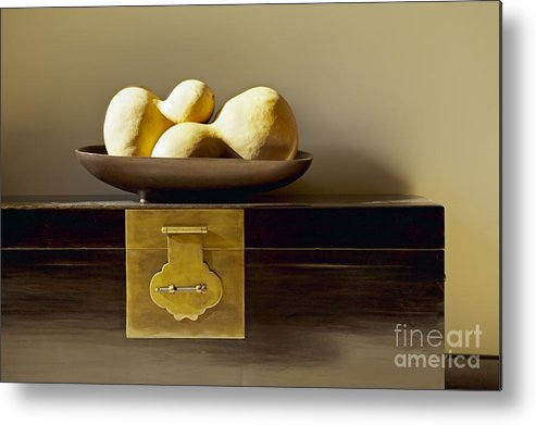 Beige Metal Print featuring the photograph Gourds Still Life I by Kyle Rothenborg - Printscapes
