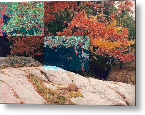 Landscape Metal Print featuring the photograph Granite Outcrop And Fall Leaves Aep2 by Lyle Crump