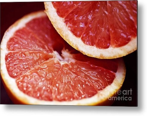 Circle Metal Print featuring the photograph Grapefruit Halves by Ray Laskowitz - Printscapes