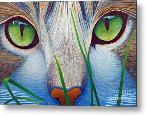 Cat Metal Print featuring the painting Green Eyes by Brian Commerford