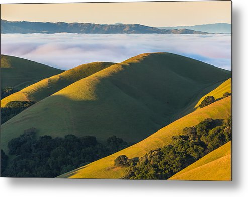 Landscape Metal Print featuring the photograph Green Hills And Low Clouds by Marc Crumpler