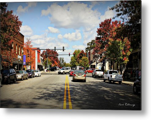 Reid Callaway Greensboro Georgia Metal Print featuring the photograph Greensboro Georgia Corner Of Main Street And Broad Street Fall Leaves Greensboro Georgia Art by Reid Callaway