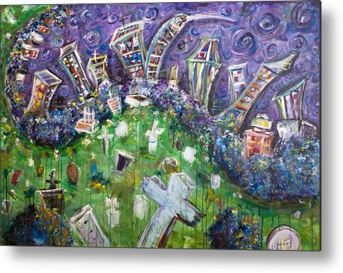 Brooklyn New York Graveyard Greenwood Tomb Headstone Grave Cross Skyline Manhattan New York City Metal Print featuring the painting Greenwood Graveyard Brooklyn by Jason Gluskin