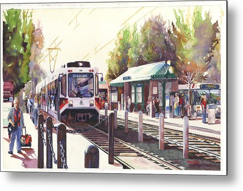 Light Rail Street Car Station Train Passenger Bus Rails Transportation Commute Home Work Evening Metal Print featuring the painting Gresham Station by Mike Hill