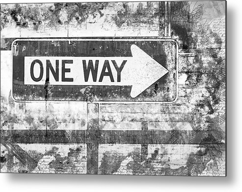 Melissa Smith Metal Print featuring the mixed media Grunge One Way by Melissa Smith