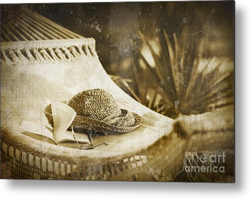 Garden Metal Print featuring the photograph Grunge Photo Of Hammock And Book by Sandra Cunningham