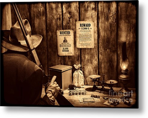 Western Metal Print featuring the photograph Guarding The Payroll by American West Legend By Olivier Le Queinec