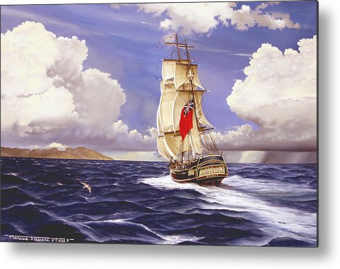Marine Metal Print featuring the painting H. M. S. Bounty At Tahiti by Marc Stewart