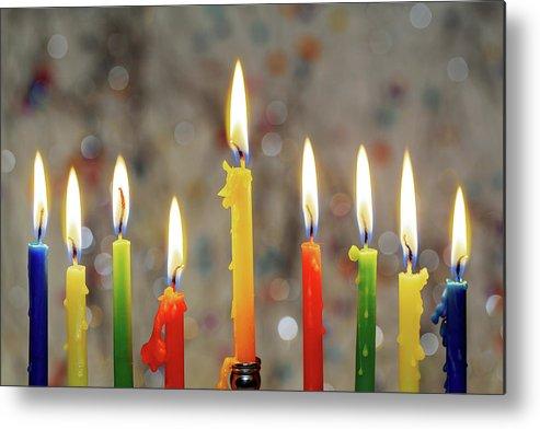 Menorah Metal Print featuring the photograph Hanukkah Menorah With Burning Candles by Valentyn Semenov