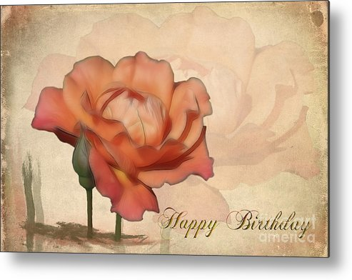Flower Metal Print featuring the photograph Happy Birthday Peach Rose Card by Teresa Zieba
