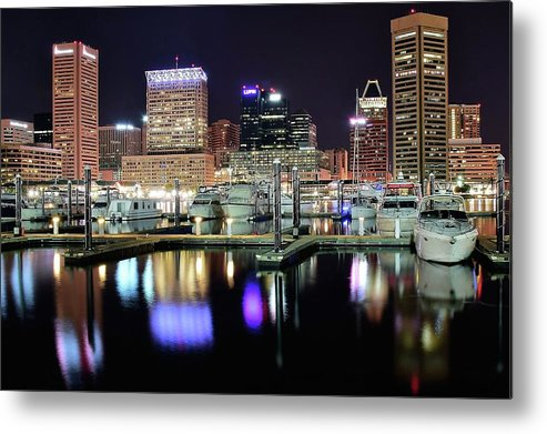 Baltimore Metal Print featuring the photograph Harbor Nights In Baltimore by Frozen in Time Fine Art Photography