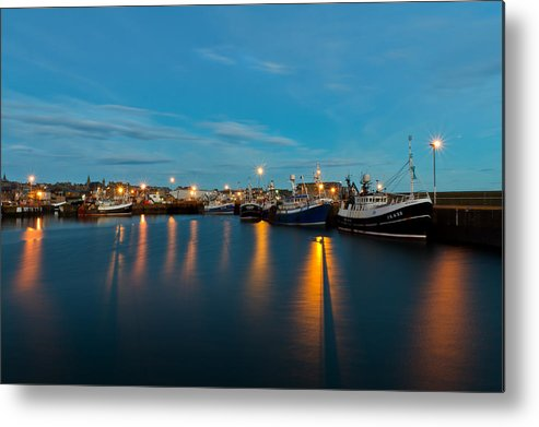 Fraserburgh Metal Print featuring the photograph Harbour Lights At Dawn by Bill Buchan