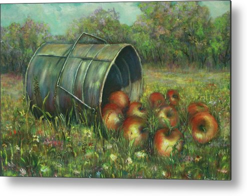 Luczay Metal Print featuring the painting Harvest With Red Apples by Luczay