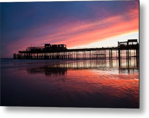 Hastings Pier Metal Print featuring the photograph Hastings Pier - Purple by Dawn OConnor