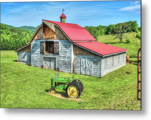 Hayesville Metal Print featuring the photograph Hayesville Barn And Tractor by Lorraine Baum