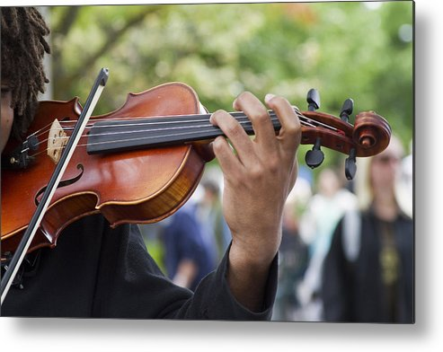 Violin Metal Print featuring the photograph He Plays At The Market by Rebecca Cozart