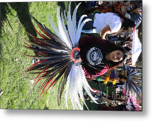 Dia De Los Muertos Metal Print featuring the photograph Head Piece Dancer Day Of The Dead by Chuck Kuhn