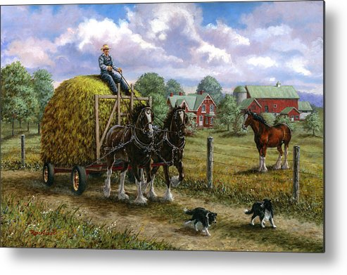 Farm Metal Print featuring the painting Heading For The Loft by Richard De Wolfe