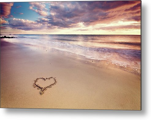 Horizontal Metal Print featuring the photograph Heart On The Beach by Elusive Photography