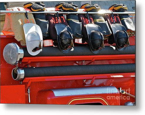 Fire Truck Metal Print featuring the photograph Helmets by Rick Monyahan