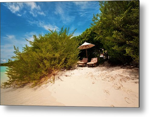 Beach Metal Print featuring the photograph Hideaway. Maldivian Beach by Jenny Rainbow