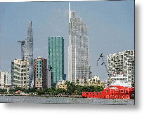 Cityscape;river;landscape;skyscraper Metal Print featuring the photograph Ho Chi Minh City 1 by Werner Padarin