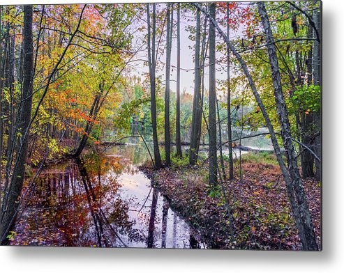 Holiday Lake Metal Print featuring the photograph Holiday Park Lake At Dusk by Andrew Kazmierski