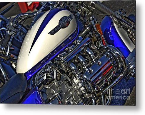 Motorcycle Art Metal Print featuring the photograph Honda Valkyrie Tank And Motor by Corky Willis Atlanta Photography