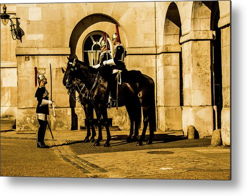 Horseguard Metal Print featuring the photograph Horseguards Inspection. by Nigel Dudson