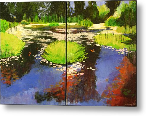 Melody Cleary Metal Print featuring the painting Hughes Water Garden by Melody Cleary
