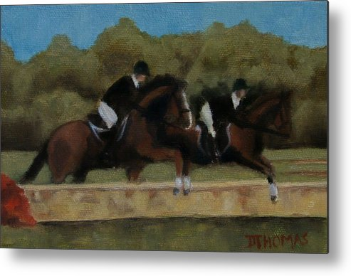 Horse Metal Print featuring the painting Hunt Scene by Donna Thomas