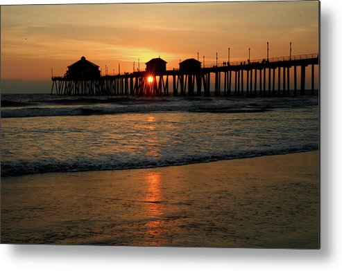 Huntington Metal Print featuring the photograph Huntington Beach Pier At Sunset by Pierre Leclerc Photography