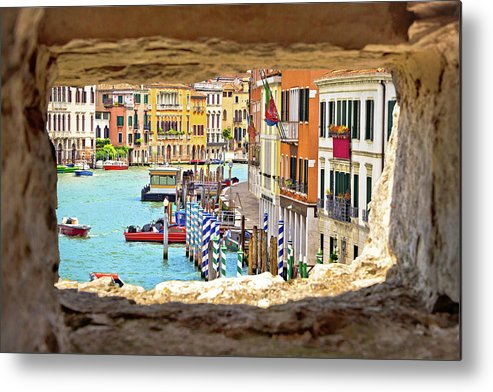 Venice Metal Print featuring the photograph Hvar Bay Aerial View Through Stone Window by Brch Photography