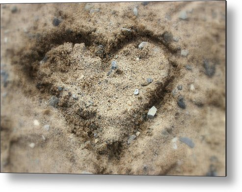 Heart Metal Print featuring the photograph I Heart Sand by Christina Martinez