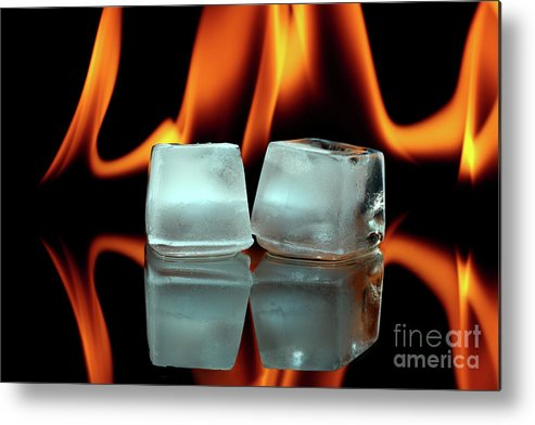 ice Cubes Metal Print featuring the photograph Ice Cubes On Fire by Pics For Merch