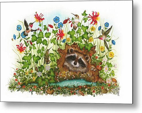 Hummingbird Metal Print featuring the painting In Hiding by Donna Genovese