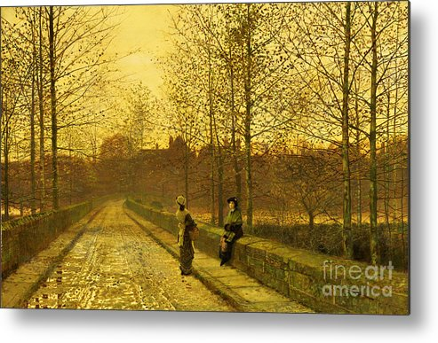 The Metal Print featuring the painting In The Golden Gloaming by John Atkinson Grimshaw