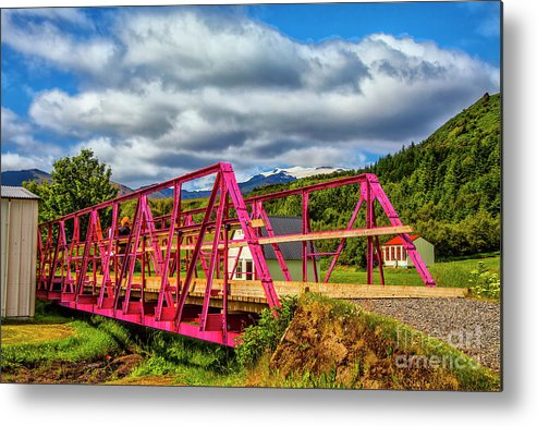 Iceland Exotic Bridges Color Full Vistas Metal Print featuring the photograph In The Pink by Rick Bragan
