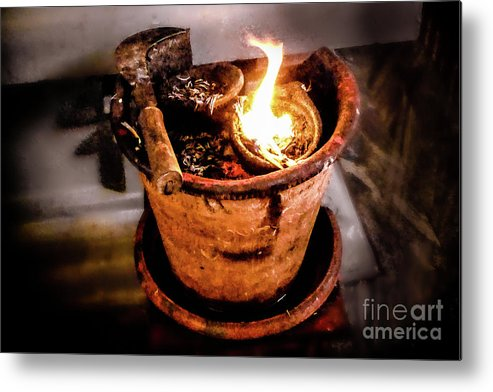 Incense Metal Print featuring the photograph Incense Pot Hindu Temple Mangalore by Stefan H Unger