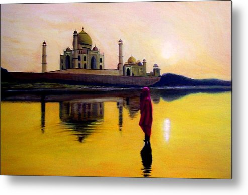 Landscape Metal Print featuring the painting Indian Prayer by Zoltan Szabo