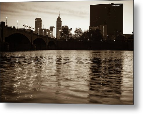 America Metal Print featuring the photograph Indianapolis On The Water - Sepia Skyline by Gregory Ballos
