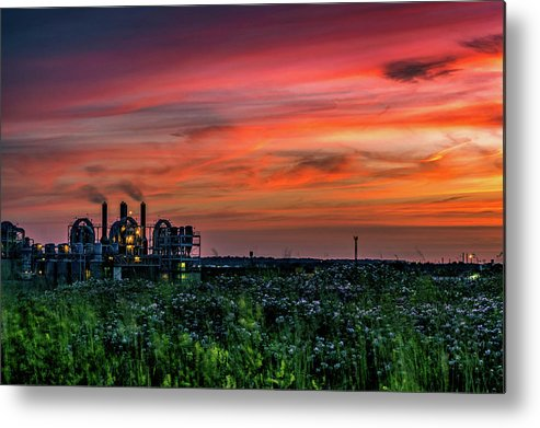 Sunset Metal Print featuring the photograph Industrial Sunset by Jim Simmermon