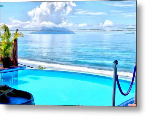 Pool Metal Print featuring the photograph Infinity Pool And Ocean by Ashish Agarwal