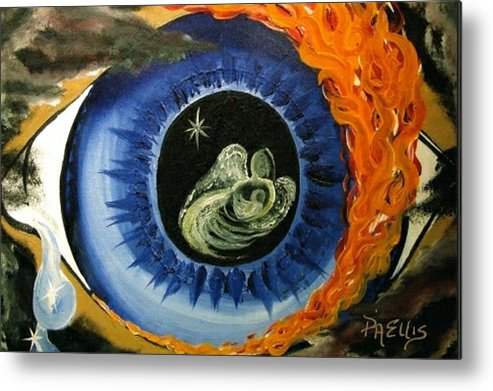 Large Blue Eye Surrounded By Black Metal Print featuring the painting Inner Sight by Pam Ellis